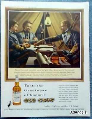 1962 Old Crow Whiskey Gen Forrest Morgan Basil Duke Military Campaign Jones ad