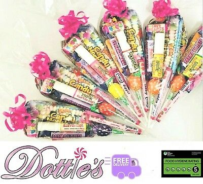 Pre Filled Sweet Cones Girls Birthday Party Bags Retro Gift Choose Amount