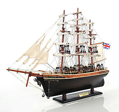 "Cutty Sark China Clipper Tall Ship Assembled 22"" Built Wooden Model Boat New"