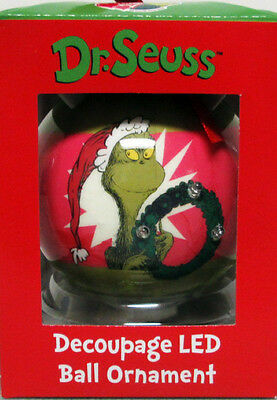 ** GRINCH WREATH LIGHTS UP  ** With 3 LED  LIGHTS Ornament Dr. Seuss New In Box