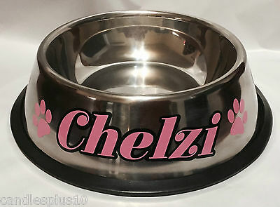 Personalised Pet Bowls Dog/Cat Available in Small Medium Large Stainless Steel
