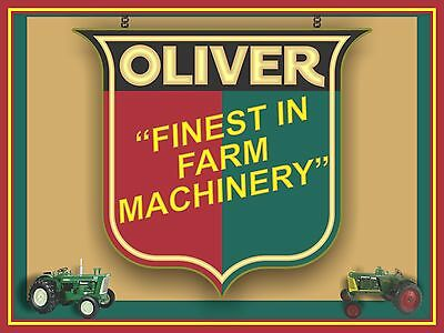 Oliver Tractor Replica Sign Dealer Style Printed Banner Shadowbox Art 4' X 3'