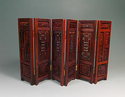 Chinese Rosewood carved flower figure folding screen