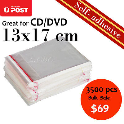 3500 Pcs Self-Adhesive Cellophane Clear Resealable Plastic Bag 13x17cm CD Bulk