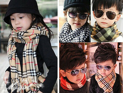 Girl Boy Baby Muffler Toddler Knitted Plaids Hooded Neck Scarf Warm Neckerchief
