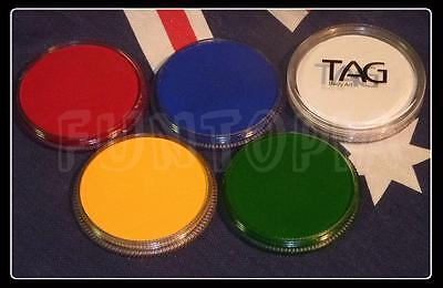5 x 32g TAG Body Art Face Paint Australia Day red, green, blue, white, yellow