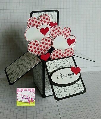 Handmade card, card in a box, Anniversary card,black & Red hearts,stampin up