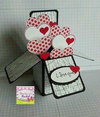 Handmade card, card in a box, Valentines day card, black & Red hearts,stampin up