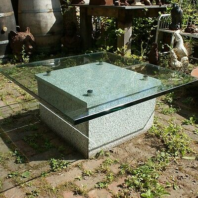 100cm Granite table with glass top/Furniture/Garden/Patio/Feature/Outdoor/Home