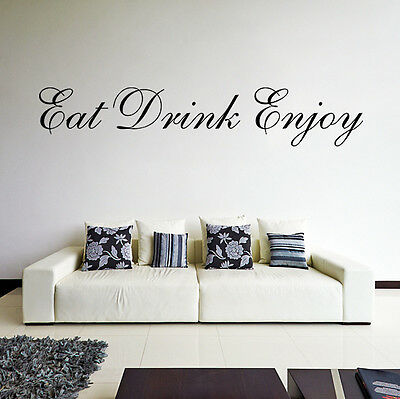 Wall Quote Vinyl Decor Stickers Decal Home Kitchen Words Rules Eat Drink Enjoy