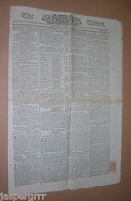 Russian Conquest Warsaw. French Revolution. 1794 The Times. Original Newspaper.