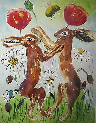 "Fridge Magnet ,Hares boxing among Poppies & Daisies  large magnet 4.25"" by 5.5"""