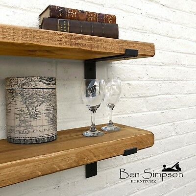 Rustic Chunky Industrial Shelf Shelves Metal Brackets Solid Wood 22cm Depth LB22