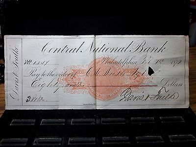 1872 Cancelled Bank Check  ✪ Central National Bank ✪ Davis Foulke ◢Trusted◣