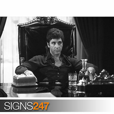AL PACINO SCARFACE GRAINY BLACK AND WHITE (1199) Poster Print Art A1 A2 A3 A4