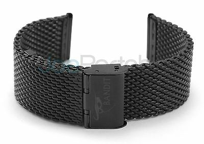 IMPERFECT Bandit Black Mesh Watch Band 22mm Stainless Milanese Bracelet Strap