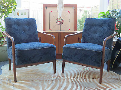 A Pair Of Blue Vintage East German Lounge Armchairs C1965 Original Condition