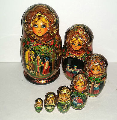 RUSSIAN NESTING DOLLS Fairytales Bright Festive w Gold Paint High Quality NEW