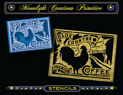 Primitive stencil~OLDE COUNTRY COFFEE FARMERS CHOICE-Vintage RoosterCoffee Sign