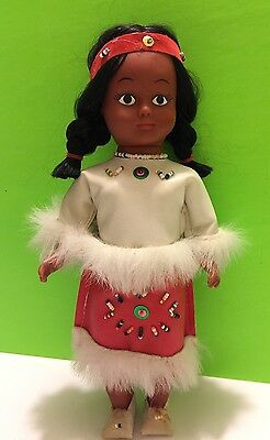 Native American Doll Traditional Beaded And Fur Dress Collectible