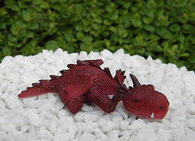 Miniature Dollhouse FAIRY GARDEN ~ Sleepy RED Mini Dragon Figurine ~ NEW