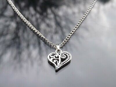 10 Silver Plated Necklaces with Filigree Heart Pendants Wholesale Jewellery