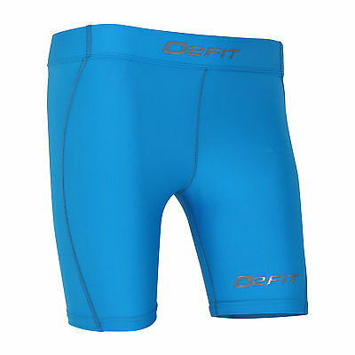 Womens Blue Compression Shorts Ladies New Sports Gym Run Base Workout Layers Fit