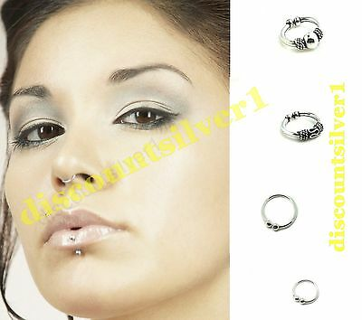 Sterling Silver Fake Clip on Small Septum Nose Ring Hoop Ear Cuff Body Jewellery