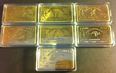 "(Set) 7 x 1 Troy OZ 999.0 Pure Bronze ""AUSTRALIANA SERIES"" Ingots"