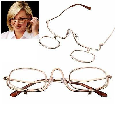 Magnifying Makeup Glasses Eye Spectacles Flip Down Lens Folding Cosmetic Reader