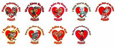 30 Paw Patrol Personalized Valentine Stickers Lollipop Labels Party Favors 1.5in