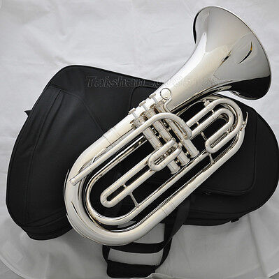 Professional JINBAO Silver Nickel Marching Bb Baritone Horn Mouthpiece with case