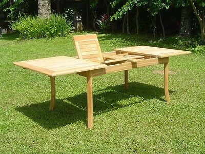 """Grade-A Teak Wood 94"""" Rectangle Double Extension Dining Table Outdoor Patio New"""