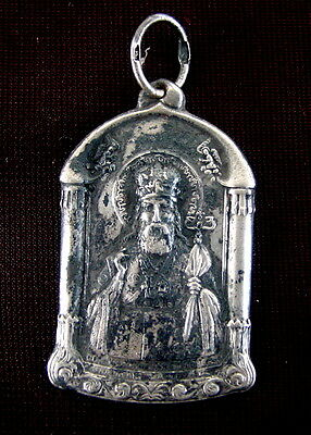 Old Russian Silver ICON Saint Tikhon of Zadonsk, Christian, Sterling Pendant