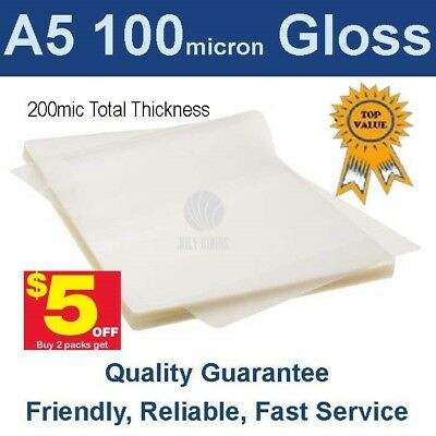 A5 Laminating Pouches Film  100 Micron Gloss (PK 100)