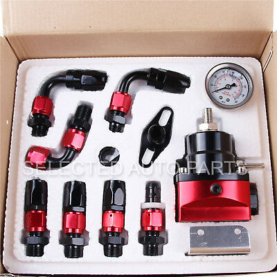 Universal Adjustable Fuel Pressure Regulator Oil 160psi Gauge AN 6 Fitting End