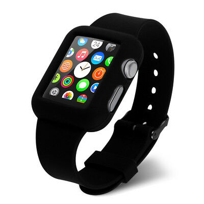 Correa Funda Gel Silicona Negra Sport Band Reloj Apple Watch 42 Mm Edition Sport