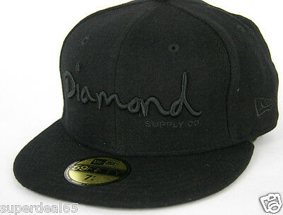 2291ce4edb0 Diamond Supply Co. Cap OG Script Fitted Hat New Era 59Fifty Black Diamond  1998