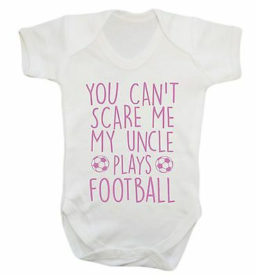 1012 Can't scare me my uncle plays football baby vest grow niece nephew gift