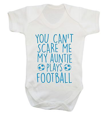 1013 Can't scare me my auntie plays football baby vest grow niece nephew gift