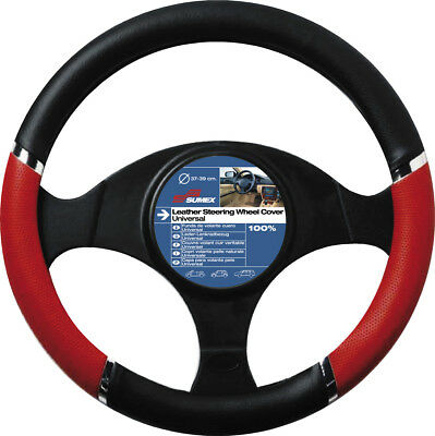 Car Steering Wheel Cover Glove Black Red Chrome PVC 37-39cm Universal Easy Fit