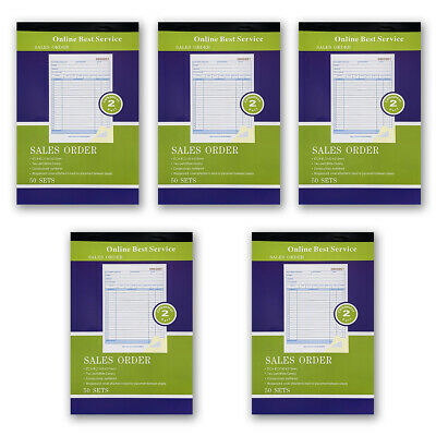 "5 Pack Receipt Large Sales Order Book Invoice Duplicate Copy 50 Sets 5.5"" X 8""5"