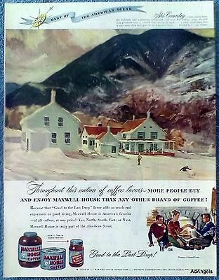 1948 Maxwell House Coffee Ski Country Snow Mountains Farm House Gilbert ad