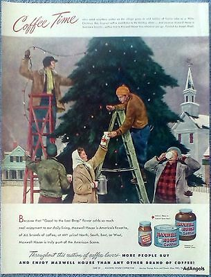 1948 Maxwell House Coffee Decorating Village Christmas Tree  Church Hirsch ad