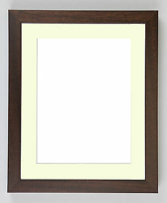 Deep Brown Wooden Picture and Photo frames with Black or White Mounts. Hand Made