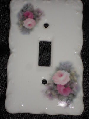 "Ceramic Switch Plate 3 1/4"" X 5"" With Roses Nice Lot Yy"