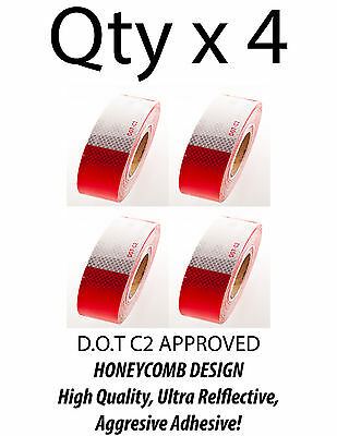 "2""x150' DOT-C2 Reflective Safety Red White Conspicuity Tape Truck Trailer- Qty 4"