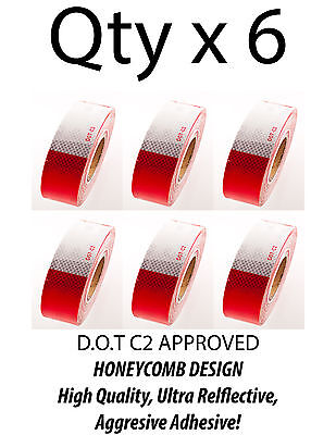 """2""""x150' DOT-C2 Reflective Safety Red White Conspicuity Tape Truck Trailer- Qty 6"""