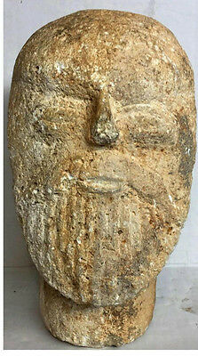 Ancient Roman (barbarian) carved limestone head Bearded . 11in