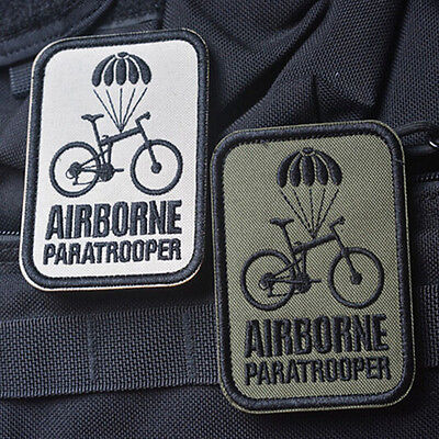 2 PCS Airborne Paratrooper Bike MORALE BADGE USA TACTICAL MILITARY PATCH
